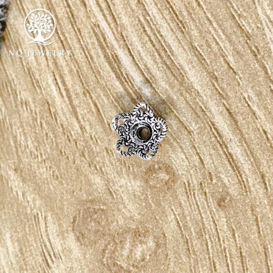 Charm bạc chụp hạt, bọc hạt họa tiết hoa văn 8mm