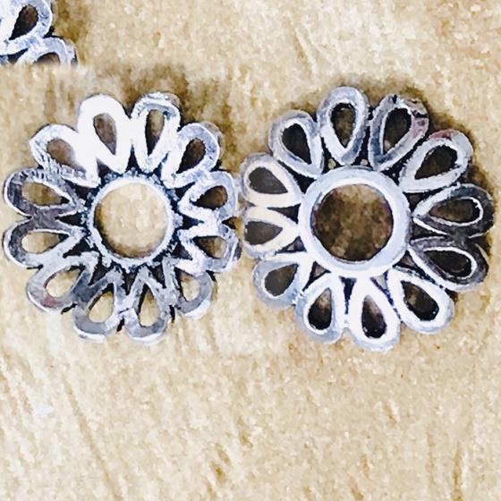 Charm bạc chụp hạt, bọc hạt họa tiết hoa văn giọt nước 10mm