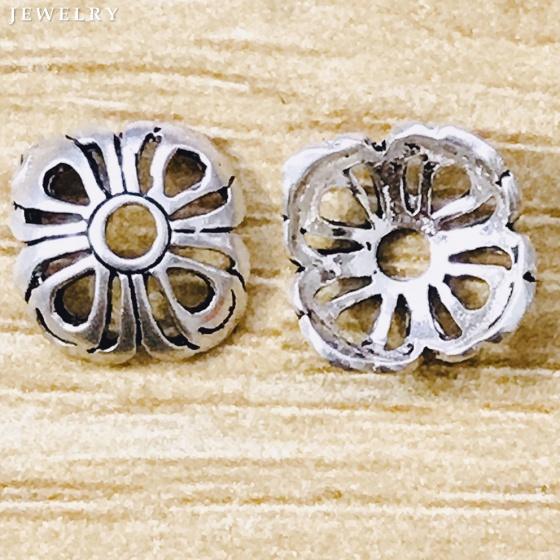 Charm bạc chụp hạt họa tiết hoa văn 10mm