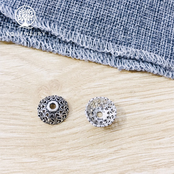 Charm bạc chụp hạt, bọc hạt họa tiết hoa văn 14mm
