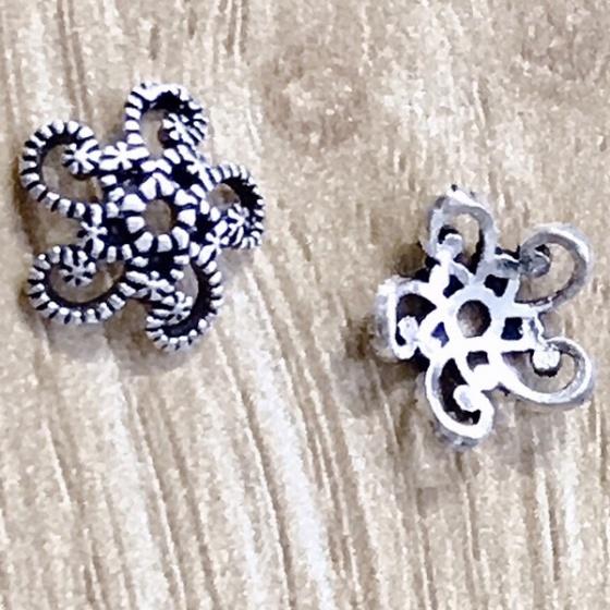 Charm bạc bọc hạt họa tiết hoa văn 10mm