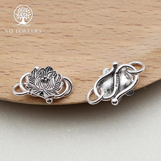 Charm bạc móc khóa hình hoa sen kết vòng tay, dây chuỗi