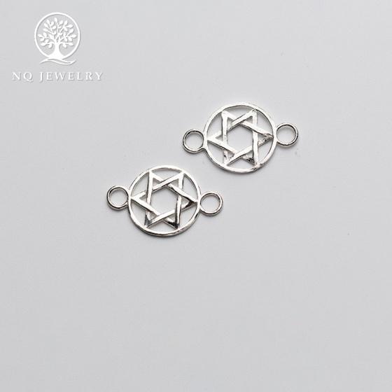 Charm bạc khóa liên kết vòng tay, dây chuỗi hình sao 6 cánh