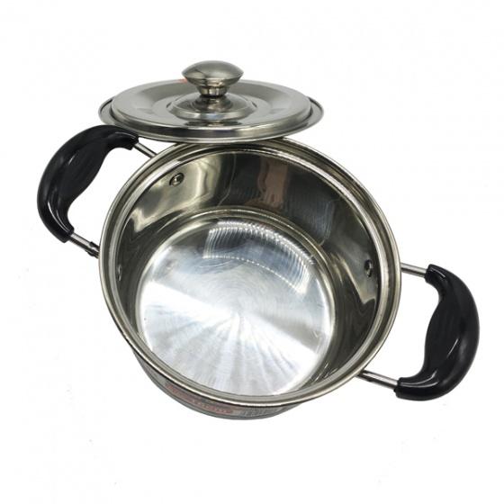 Nồi nấu INOX Hoàng Gia loại 1 đáy đường kính 22cm - nắp kính