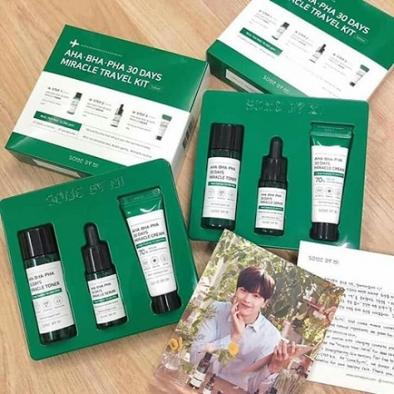 Bộ Kit 3 Món giảm mụn Some By Mi AHA - BHA - PHA 30 Days Miracle Kit (Toner+Serum+Cream)