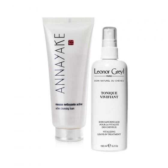 Combo sữa rửa mặt dạng bọt Annayake và Keo xịt tăng độ ẩm và bảo vệ tóc Leonor Greyl