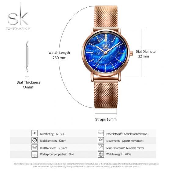 Đồng hồ nữ chính hãng Shengke UK 11K0103L-02 vàng hồng mặt xanh dương