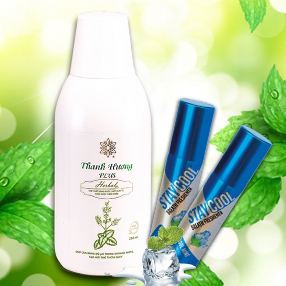 Combo nước súc miệng Thanh Hương Plus và xịt thơm miệng hương bạc hà StayCool hỗ trợ điều trị hôi miệng