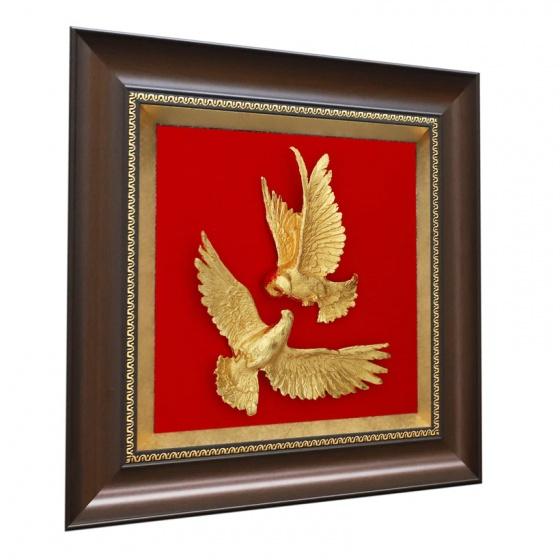Tranh đôi chim bồ câu mạ vàng 24K - quà tặng mừng đám cưới
