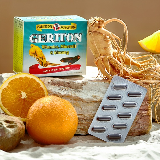 Viên uống nhân sâm, tăng cường thể lực, sức đề kháng, vitamin, khoáng chất - Geriton - MediBeauty - Robinson Pharma USA