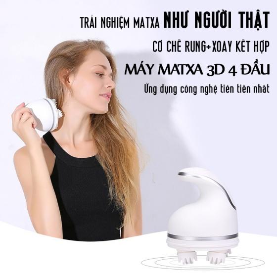 Máy mát xa matxa massage da đầu toàn thân 4 Điểm 3D xoay rung không dây Legaxi