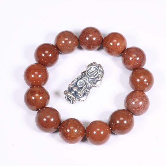 Vòng tay đá san hô đỏ hóa thạch 16mm mệnh Hỏa, Thổ - Ngọc Quý Gemstones