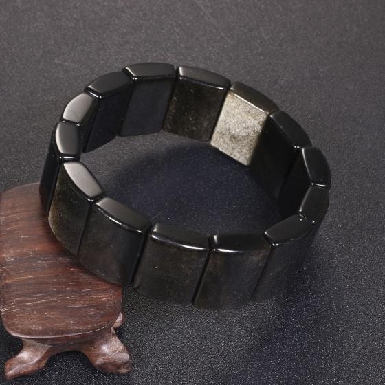 Vòng tay đá tektit bản vuông 19x15mm mệnh thủy, mộc - Ngọc Quý Gemstones