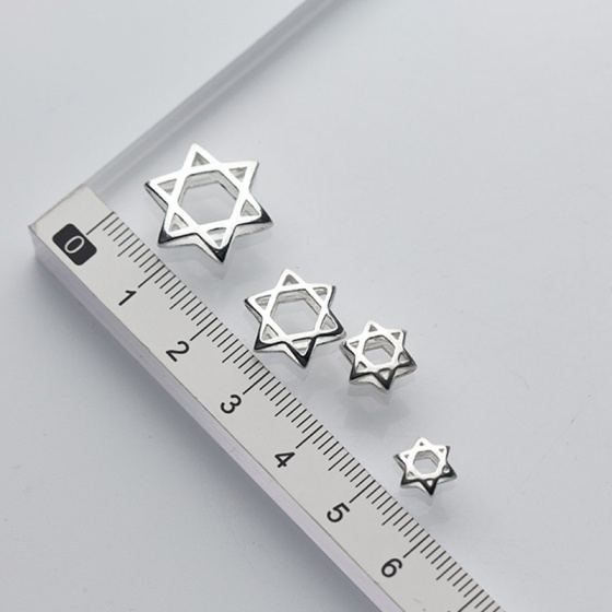 Charm bạc lồng hạt hình sao sáu cánh 15mm