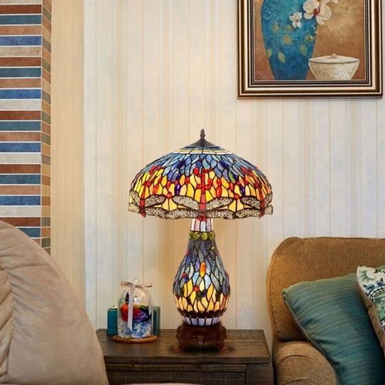 Đèn bàn trang trí Tiffany chuồn chuồn kép xanh chao 46