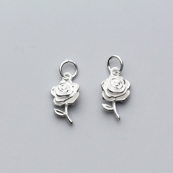 Charm bạc mặt hoa hồng treo