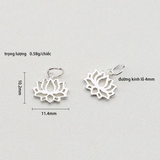 Charm bạc hình hoa sen treo 10.2x11.4mm