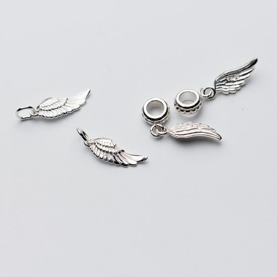 Charm bạc hình cánh thiên thần mặt treo 2