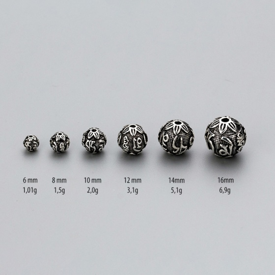 Charm bạc hình cầu lục tự minh chú xỏ ngang 10mm