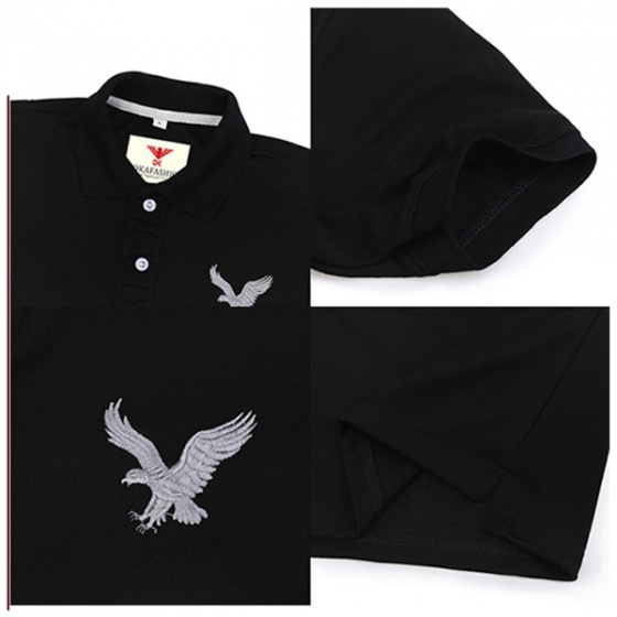 Áo thun nam cổ bẻ vải cá sấu cao cấp dokafashion màu đen, DB02
