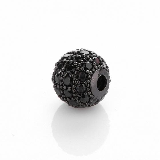 Charm hợp kim cầu màu đen đính đá đen xỏ ngang 16mm