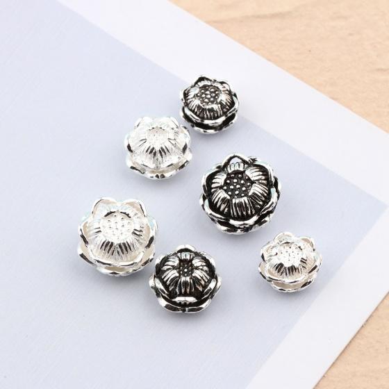 Charm bạc hình hoa sen xỏ ngang 11.2mm