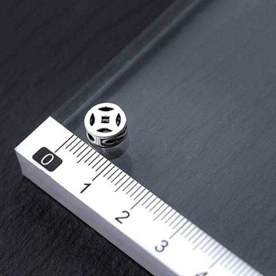 Charm bạc hình đồng tiền xỏ ngang 6mm