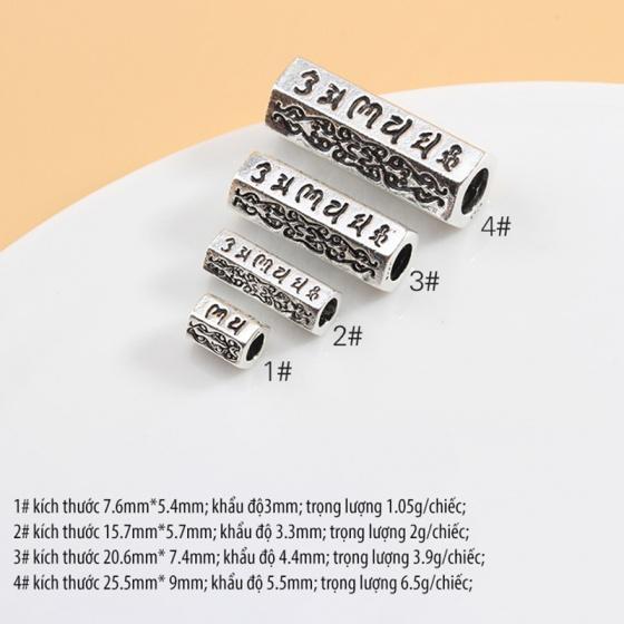 Charm bạc hình trụ 6 cạnh khắc lục tự đại mình chú xỏ ngang 15mm