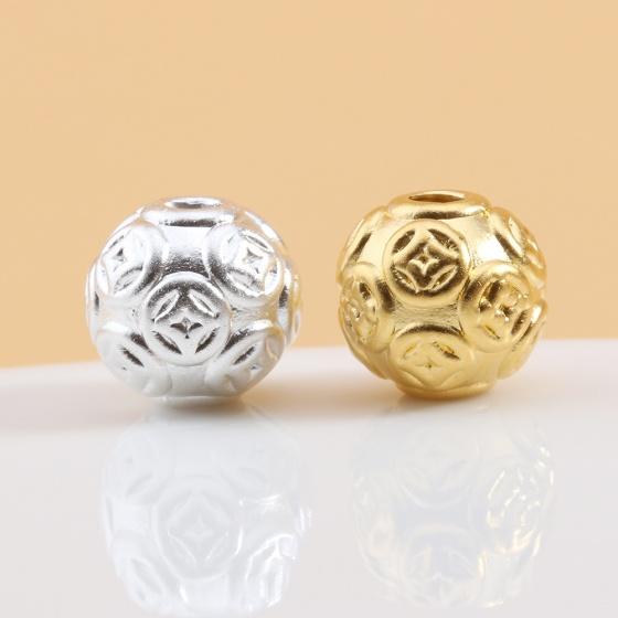 Charm bạc hình tròn họa tiết đồng tiền xỏ ngang mạ vàng