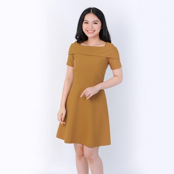 Đầm công sở thời trang Eden cổ vuông thắt nơ màu bò- D383