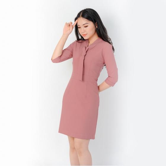 Đầm công sở thời trang Eden tay lỡ màu hồng - D384