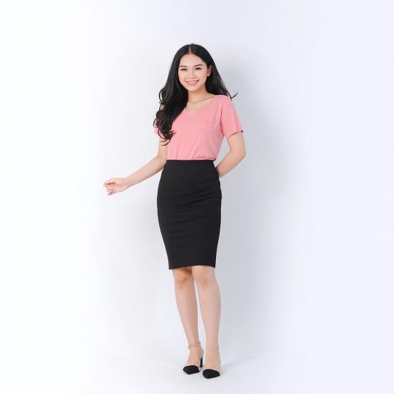 Áo thun thời trang Eden cổ tim túi xéo màu hồng - AT080