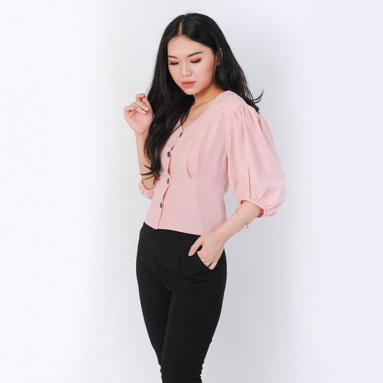 Áo kiểu thời trang Eden dáng ngắn cổ tim tay phồng màu hồng - ASM049