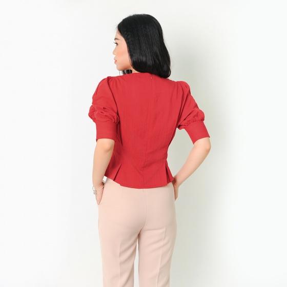 Áo kiểu thời trang Eden dáng ngắn xếp li tay rút màu đỏ - ASM050