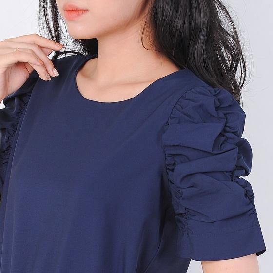 Áo kiểu thời trang Eden dáng ngắn tay nhúng màu xanh đen - ASM051