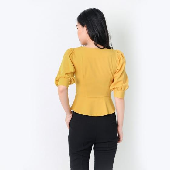 Áo kiểu thời trang Eden dáng ngắn cổ cách điệu - ASM052