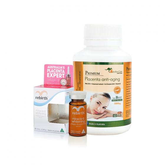 Combo viên uống nhau thai cừu premium placenta Anti-Aging 60 viên và serum tế bào gốc nhau thai cừu dưỡng trắng da Rebirth