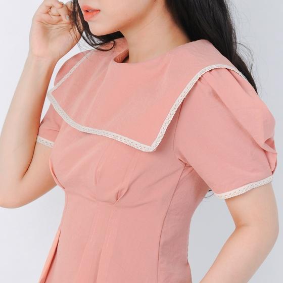 Áo kiểu thời trang Eden dáng ngắn cổ thủy thủ viền ren màu hồng - ASM056