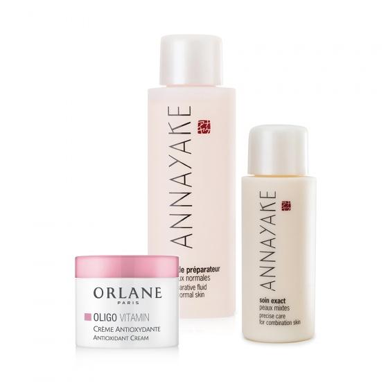 Combo sữa dưỡng trắng da dành cho da thường Annayake và nước hoa hồng tặng kem dưỡng Mini Orlane Cream Oligo