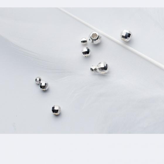 Charm bi bạc đa giác trơn xỏ ngang 4mm