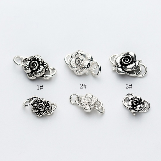 Charm bạc khóa liên kết vòng tay, dây chuỗi hình bông hoa 1 nhỏ