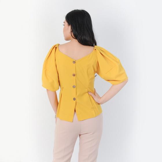 Áo công sở thời trang Eden dáng ngắn cổ tim tay phồng màu vàng- ASM058