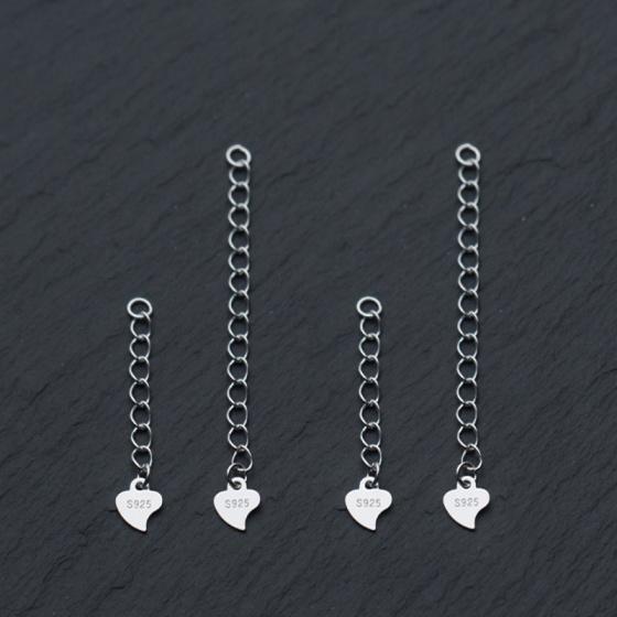 Charm bạc dây xích trái tim trang trí bạc 5cm
