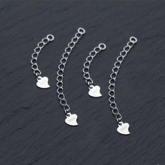 Charm bạc dây xích trái tim trang trí bạc 3cm