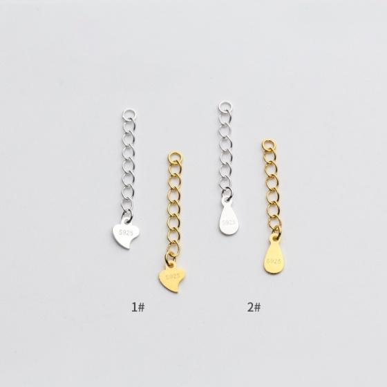 Charm bạc dây xích trái tim trang trí vàng 3cm