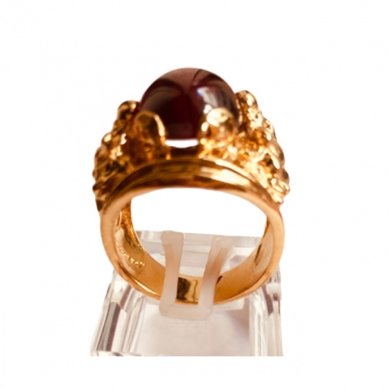 Nhẫn nam chạm hình Phật Di Lặc đá thạch anh tự nhiên mạ vàng 18k - RM01056