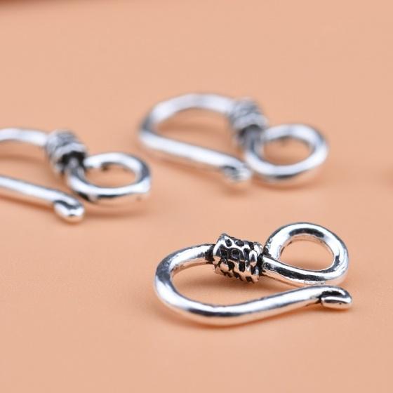 Charm bạc móc khóa chữ S kết vòng tay, dây chuỗi 2