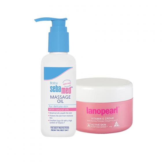Combo tinh dầu massage cho bé Sebamed pH5.5 (SBB04) và kem tái tạo vitamin E và EPO làm mịn da Lanopearl (LA07)