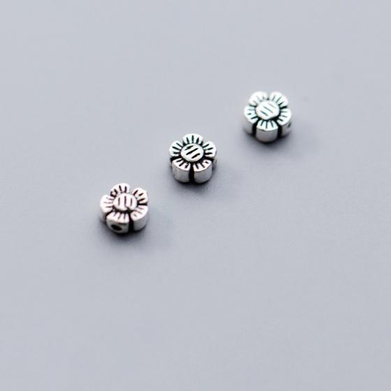 Charm bạc chặn hạt hình hoa 5 cánh