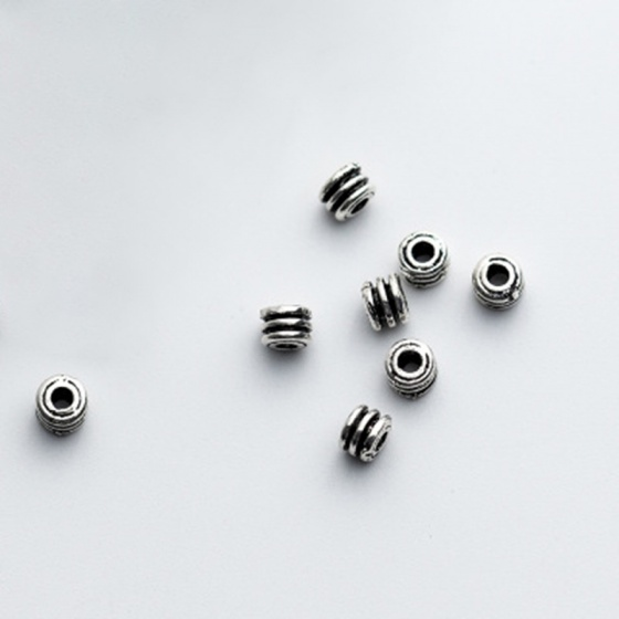 Charm bạc chặn hạt họa tiết lo xo 3x3x4mm